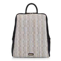 Damski plecak z ekoskóry i płótna, czarny, 92-4Y-557-1, Zdjęcie 1