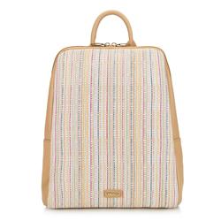 Damski plecak z ekoskóry i płótna, beżowy, 92-4Y-557-5, Zdjęcie 1