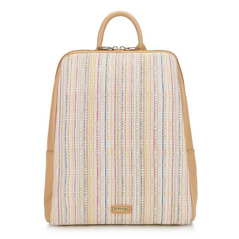 Damski plecak z ekoskóry i płótna, beżowy, 92-4Y-557-1, Zdjęcie 1