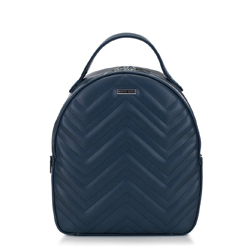 Backpack with chevron quilting, navy blue, 92-4Y-602-7, Photo 1
