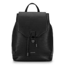 Damski plecak z tornistrowym zapięciem, czarny, 92-4Y-615-1, Zdjęcie 1