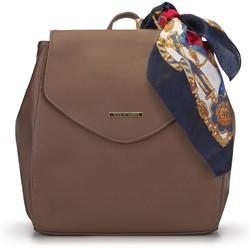 Damski plecak z ekoskóry z apaszką, brązowy, 93-4Y-900-5, Zdjęcie 1