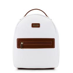 Damski plecak z kieszenią w obramówce, biały, 92-4Y-633-0, Zdjęcie 1