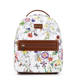 Plecak z kieszenią w obramówce, biało - brązowy, 92-4Y-633-0X, Zdjęcie 1