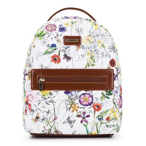 Damski plecak z kieszenią w obramówce, biało - brązowy, 92-4Y-633-1, Zdjęcie 1