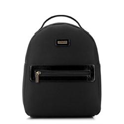 Damski plecak z kieszenią w obramówce, czarny, 92-4Y-633-1, Zdjęcie 1