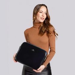 """Damski pokrowiec na laptopa 15,6"""" skórzany lakierowany, granatowy, 25-2-517-N, Zdjęcie 1"""