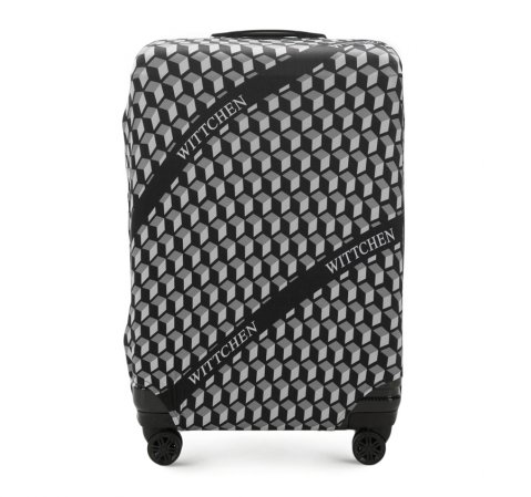 Pokrowiec na walizkę dużą, czarno - biały, 56-30-033-44, Zdjęcie 1