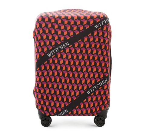 Pokrowiec na walizkę średnią, pomarańczowo - czarny, 56-30-032-10, Zdjęcie 1