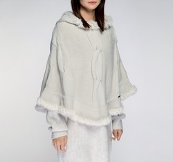 Women's poncho, white, 85-9F-202-0, Photo 1