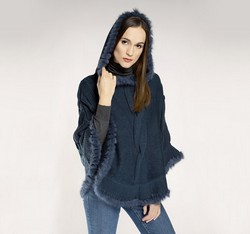 Women's poncho, navy blue, 85-9F-202-7, Photo 1