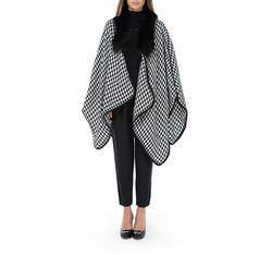 Women's poncho , black-white, 83-9F-001-1, Photo 1