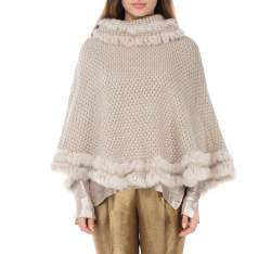Women's poncho , beige, 83-9F-005-9, Photo 1