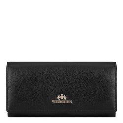 Damski portfel ze skóry podłużny, czarno - złoty, 02-1-052-G1, Zdjęcie 1
