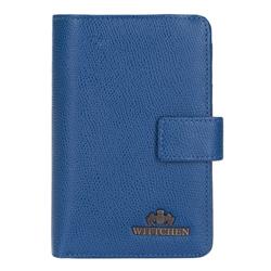 Damski portfel skórzany z zapięciem na napę, niebieski, 13-1-047-RN, Zdjęcie 1