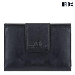 Damski portfel ze skóry z elegancką napą, czarny, 14-1-048-L1, Zdjęcie 1