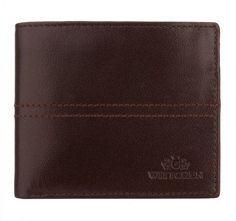Męski portfel skórzany z przeszyciem, ciemny brąz, 14-1-119-L1, Zdjęcie 1