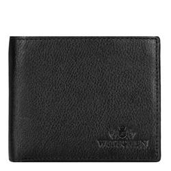 Męski portfel skórzany poziomy, czarny, 21-1-026-10L, Zdjęcie 1