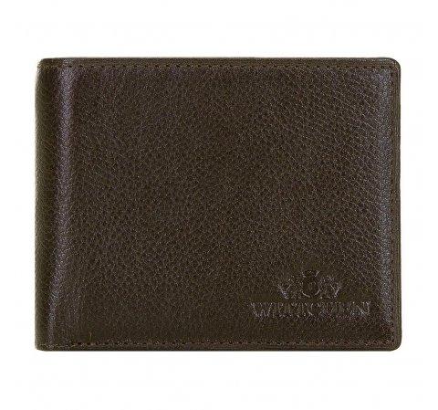 Męski portfel skórzany poziomy, Brązowy, 21-1-026-44L, Zdjęcie 1