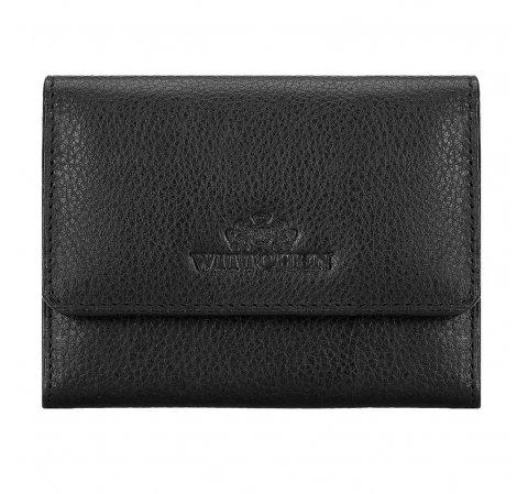 Damski portfel skórzany zapinany na zatrzask, czarny, 21-1-034-10L, Zdjęcie 1