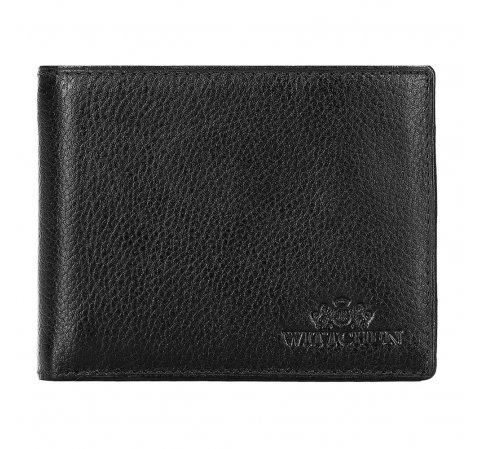 Męski portfel skórzany z wykładanym panelem, czarny, 21-1-039-40L, Zdjęcie 1