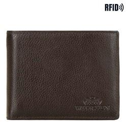 Męski portfel skórzany poziomy, Brązowy, 21-1-039-40L, Zdjęcie 1