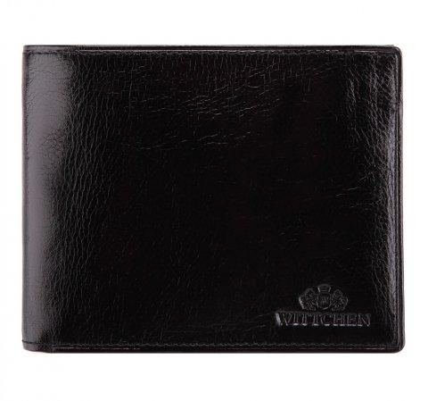 Męski portfel ze skóry z rozkładanym panelem, czarny, 21-1-040-10, Zdjęcie 1
