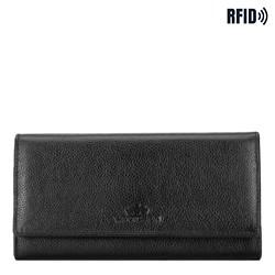 Damski portfel skórzany z kieszenią na suwak, czarny, 21-1-052-10L, Zdjęcie 1
