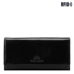 Damski portfel ze skóry naturalnej, czarno - złoty, 21-1-052-L10, Zdjęcie 1