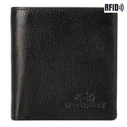 Damski portfel skórzany kwadratowy, czarny, 21-1-065-15L, Zdjęcie 1
