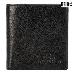 Women's leather compact wallet, black, 21-1-065-15L, Photo 1