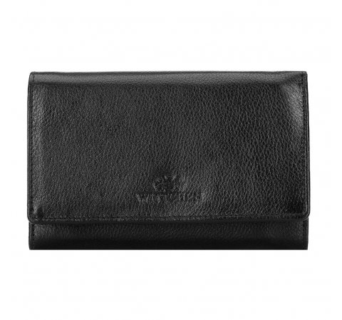 Women's leather wallet with a pocket secured with a metal clasp, black, 21-1-081-10L, Photo 1