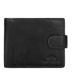 Męski portfel skórzany rozkładany, czarny, 21-1-120-10L, Zdjęcie 1