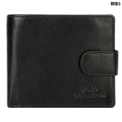 Męski portfel skórzany rozkładany, czarny, 21-1-120-40L, Zdjęcie 1