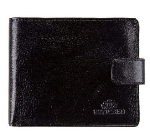 Męski portfel skórzany prosty, czarny, 21-1-120-1M, Zdjęcie 1