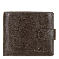 Męski portfel skórzany zapinany na napę, ciemny brąz, 21-1-125-40L, Zdjęcie 1