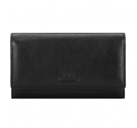 Damski portfel ze skóry poziomy, czarny, 21-1-235-3L, Zdjęcie 1