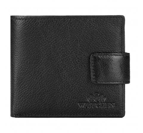 Męski portfel skórzany z zapięciem na napę, czarny, 21-1-270-10L, Zdjęcie 1