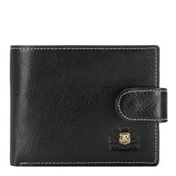 Męski portfel skórzany ze stębnowaniem, czarny, 22-1-127-1, Zdjęcie 1