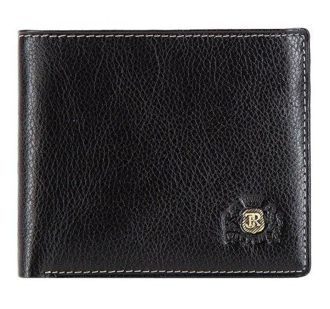 Męski portfel skórzany stębnowany rozkładany, czarny, 22-1-179-1, Zdjęcie 1