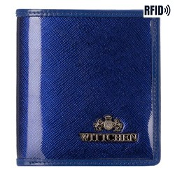 Women's small leather wallet, navy blue, 25-1-065-TL, Photo 1