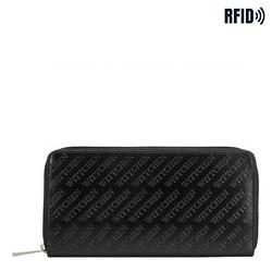 Damski portfel z tłoczonej skóry podłużny, czarny, 26-1-001-1, Zdjęcie 1
