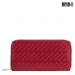 Damski portfel z tłoczonej skóry podłużny, czerwony, 26-1-001-3, Zdjęcie 1