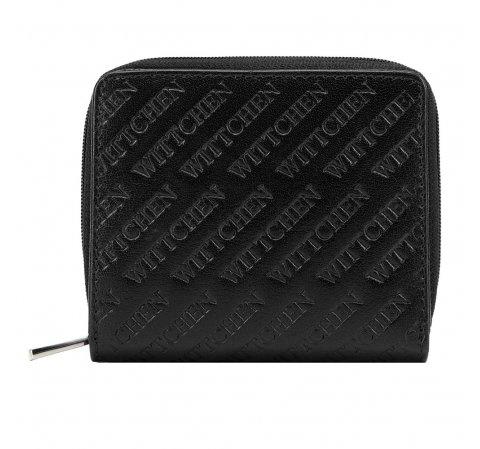 Damski portfel z tłoczonej skóry mały, czarny, 26-1-002-3, Zdjęcie 1
