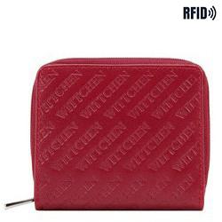 Damski portfel z tłoczonej skóry mały, czerwony, 26-1-002-3, Zdjęcie 1