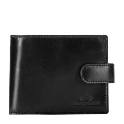 Damski portfel ze skóry na zatrzask, czarny, 26-1-115-1, Zdjęcie 1