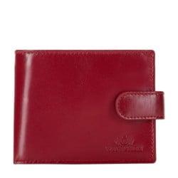Damski portfel ze skóry na zatrzask, czerwony, 26-1-115-3, Zdjęcie 1