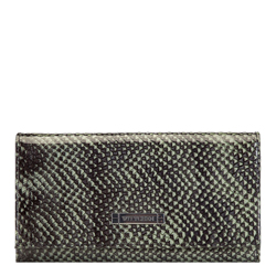 Women's lizard effect leather wallet, green-black, 26-1-415-1, Photo 1