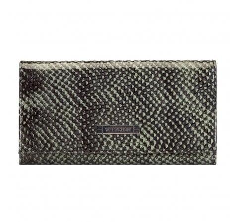 Women's lizard effect leather wallet, green-black, 26-1-415-1, Photo 1