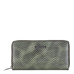 Damski portfel ze skóry lizard na suwak, zielono - czarny, 26-1-416-1, Zdjęcie 1